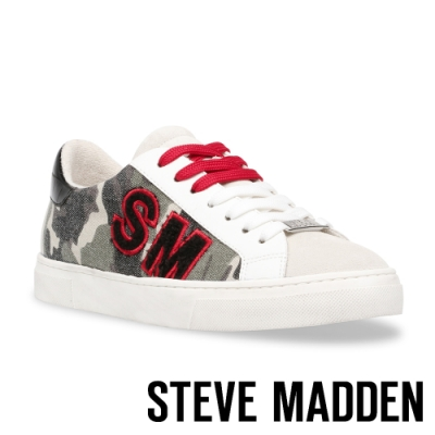 STEVE MADDEN-RAZZ 拼接綁帶厚底休閒平底女鞋-迷彩