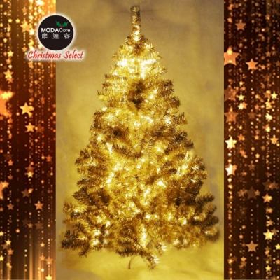 摩達客 台灣製6呎豪華版氣質霧金系聖誕樹(不含飾品)+100燈LED燈暖白光2串