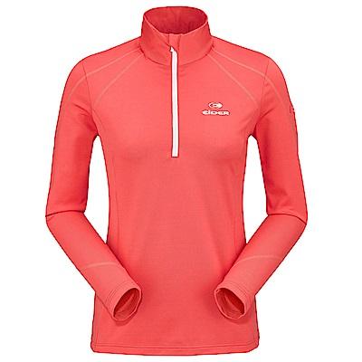 法國【EiDER】 女保暖透氣素色長袖立領衫橘