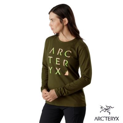 Arcteryx 始祖鳥 女 24系列 Cluster 有機棉 長袖休閒Tee 綠