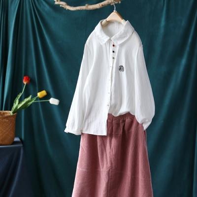 白色純棉刺繡娃娃領襯衫寬鬆長袖上衣-設計所在