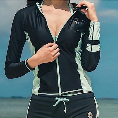AH dream夢想女孩 三件式 綠色長袖潛水衣衝浪衣泳裝C951