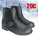 黑騎士 男新款 簡約時尚男中筒保暖雪靴_黑色