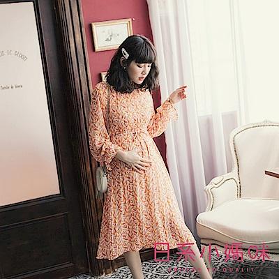 日系小媽咪孕婦裝-孕婦裝 幾何柳葉前打折洋裝 附綁帶
