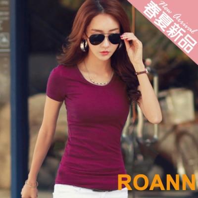 百搭款多色圓領短袖棉質T恤 (共三色)-ROANN