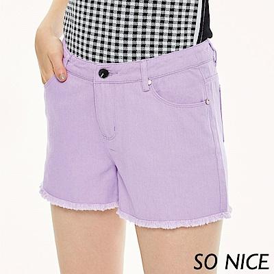 SO NICE俏麗休閒粉紫抽鬚短褲