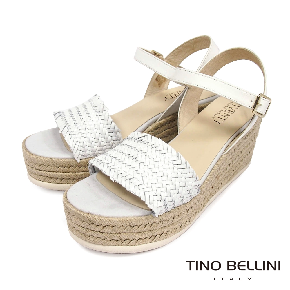 Tino Bellini 西班牙進口典雅小牛皮編織草編楔型涼鞋-白