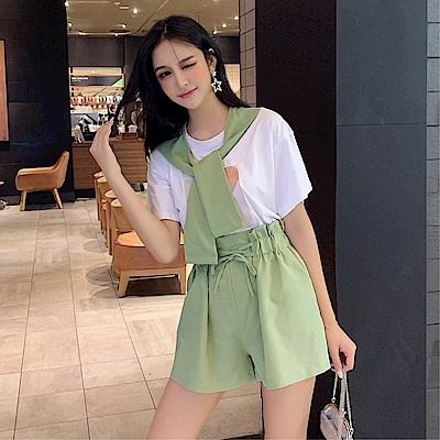 DABI 韓系時尚披肩顯瘦短褲氣質套裝短袖裙裝