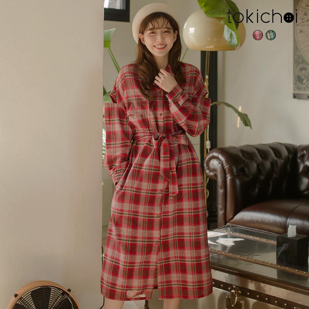 東京著衣 小清新女孩顯瘦格紋挖肩綁帶洋裝-S.M(共二色)