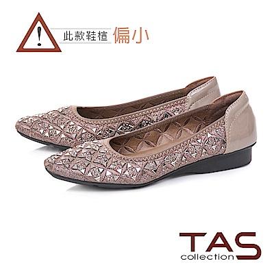 TAS 幾何水鑽造型氣質尖頭娃娃鞋-豆沙粉