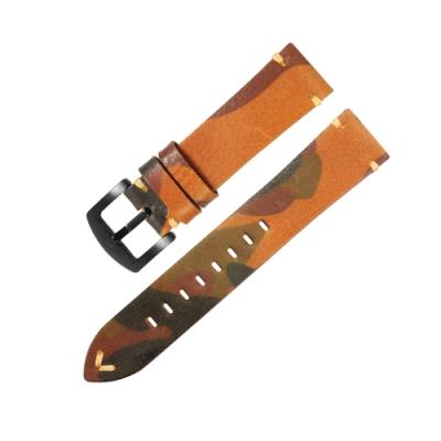 Watchband / 各品牌通用 復刻迷彩 舒適百搭 真皮錶帶 淺棕色