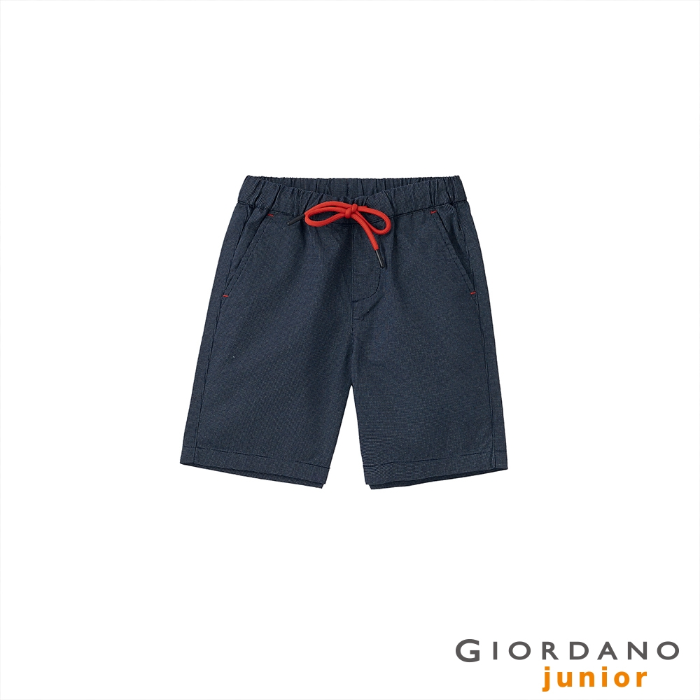 GIORDANO 童裝抽繩休閒短褲 - 98 標誌海軍藍X白
