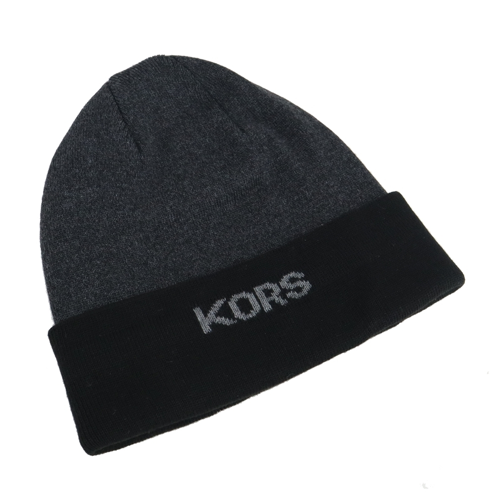 MK MICHAEL KORS雙色針織毛帽-黑/灰