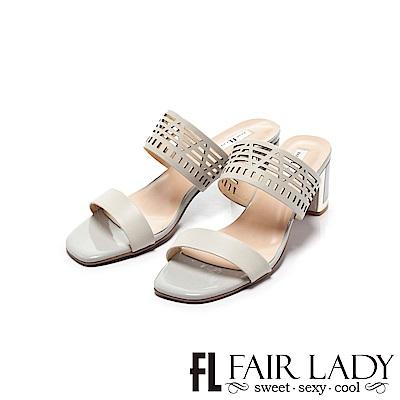 Fair Lady 幾何縷空寬帶一字粗跟涼鞋 水藍