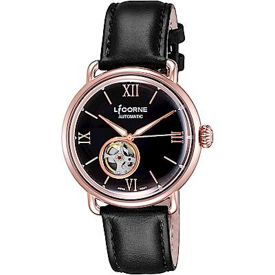 LICORNE力抗 光陰系列 小鏤空機械手錶-黑x玫塊金框/42mm