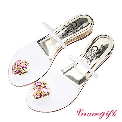 Grace gift-美少女戰士月光心鑽夾腳條帶拖鞋 白