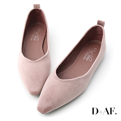 D+AF 粉彩調性.尖頭V口絨質平底便鞋*紫