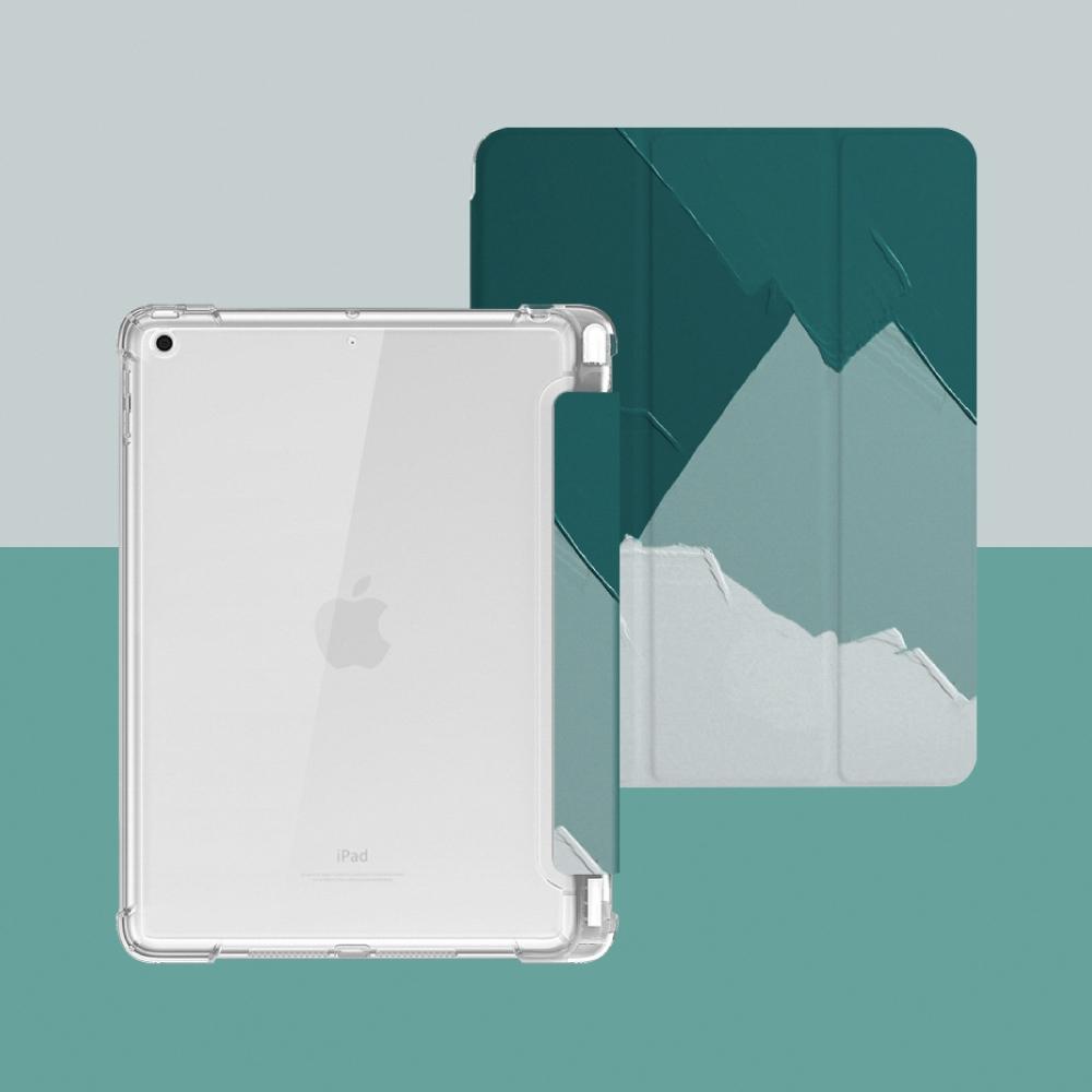 ZOYU原創 iPad 5/6 9.7吋 保護殼 透明氣囊殼 彩繪圖案款-復古油畫森系綠(三折式/軟殼/內置筆槽)
