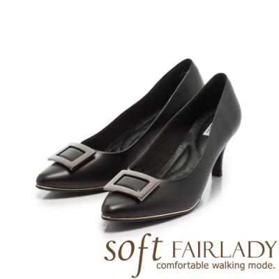 Fair Lady Soft芯太軟 優雅方框素色尖頭跟鞋 經典黑
