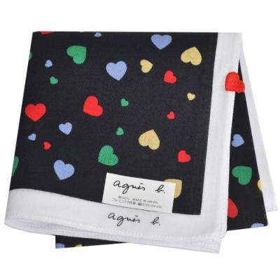 agnes b 品牌字母LOGO繽紛彩色愛心圖騰帕領巾(黑系)