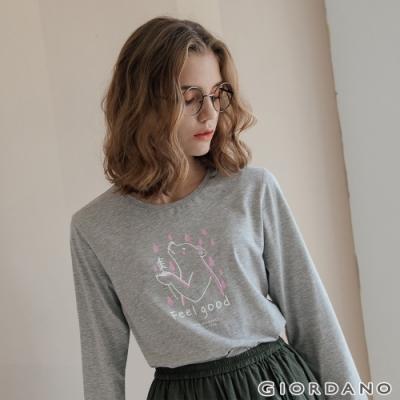 GIORDANO  女裝HAPPY MOMENTS印花長袖T恤- 42 中花灰