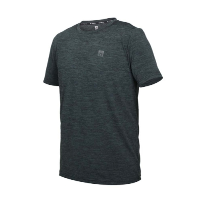 FIRESTAR 男彈性機能圓領短袖T恤-涼感 上衣 慢跑 路跑 運動 反光 D1731-18 麻花灰