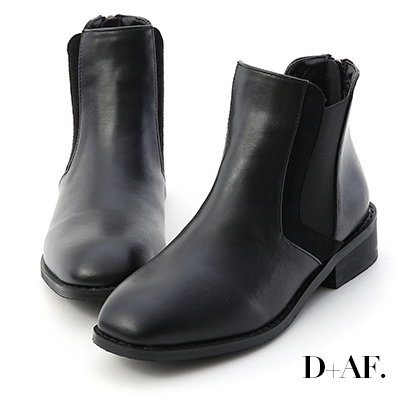 D+AF 獨創百搭.拼接剪裁切爾西短靴*黑