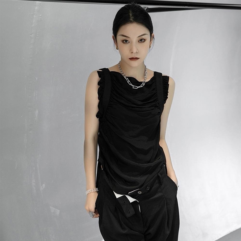 設計所在Style-銅安絲黑色褶皺修身顯瘦氣質無袖背心 (黑色)
