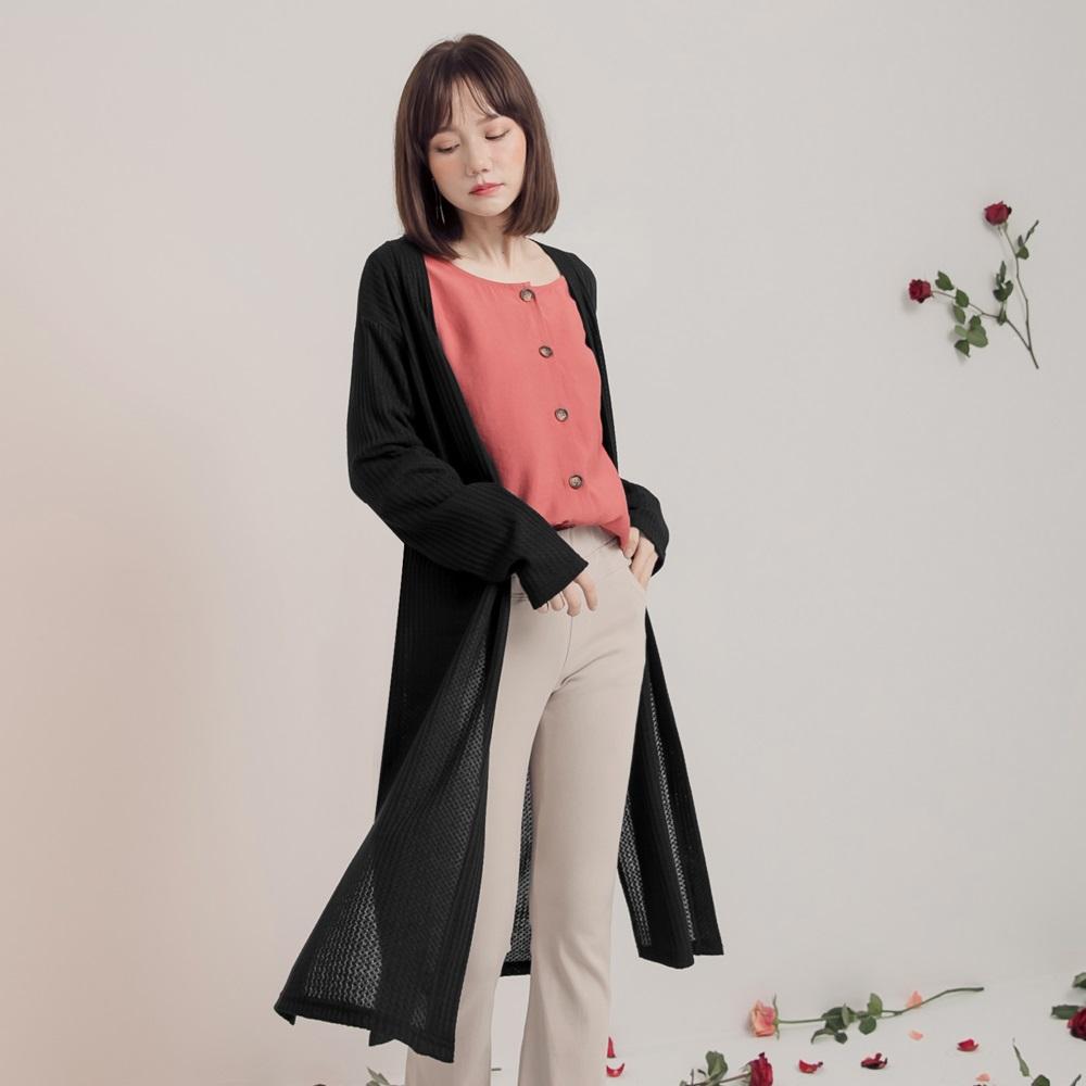 純色仿針織開襟長版罩衫-OB大尺碼
