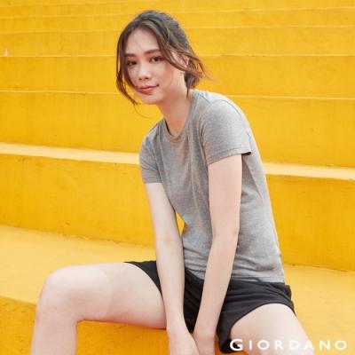 GIORDANO 女裝運動系列吸濕排汗素色短袖T恤-04 花紗深灰