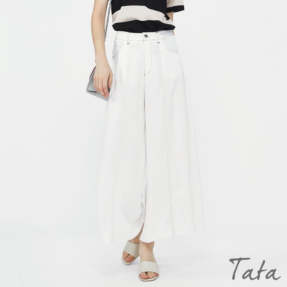 車線造型涼感雪紡寬褲 TATA-(S~L)