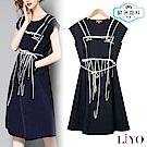 洋裝歐美流行寬鬆顯瘦綁帶緹花紋優雅洋裝LIYO理優 S-XXL