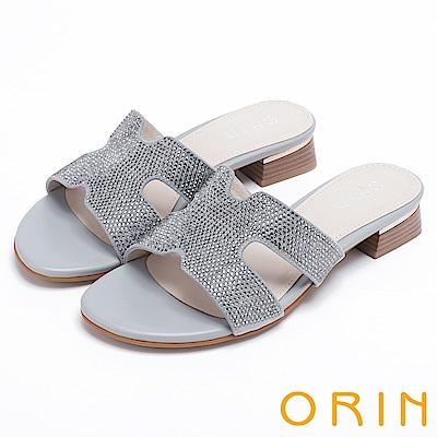 ORIN 魅力新時尚 造型剪裁布面水鑽低跟拖鞋-灰色