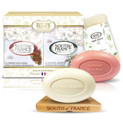 South of France南法馬賽皂玫瑰茉莉香頌花意組170gx2(贈皂盤+沐浴手套)