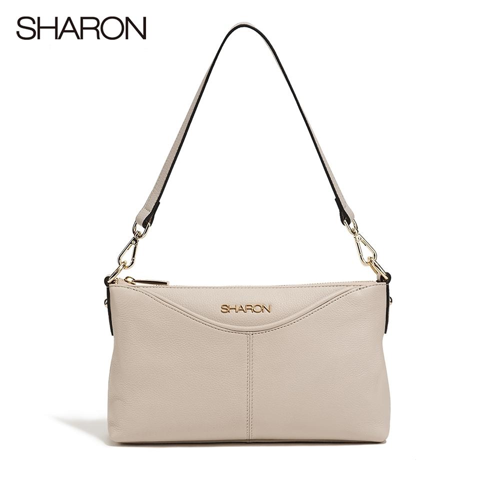 【SHARON 雪恩】頭層牛皮Dora軟皮斜背/側肩小包(米白色13091WH)