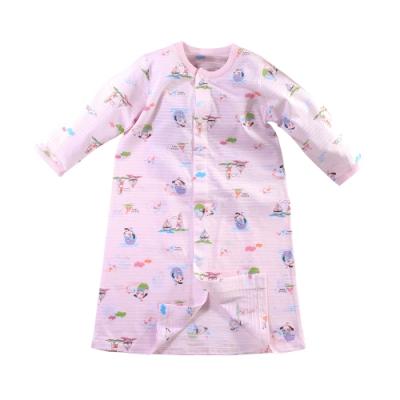 魔法Baby 嬰兒長袍 台灣製春夏薄款純棉護手長睡袍 連身衣  b0337