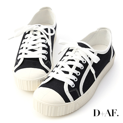 D+AF 潮流風格.圓頭拼色帆布休閒鞋*黑