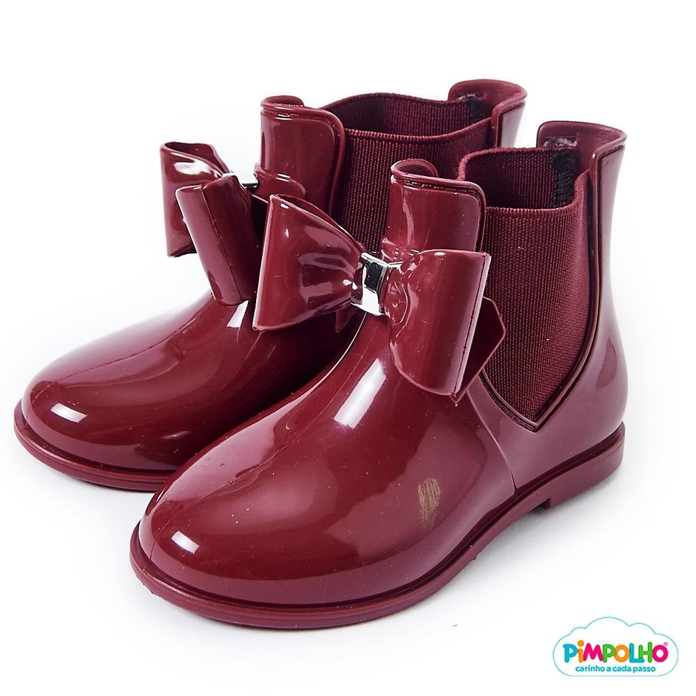 Pimpolho 甜心蝴蝶結小童雨靴-酒紅