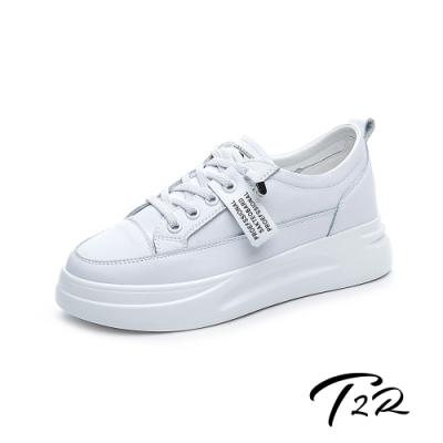 T2R-正韓空運-織帶造型真皮帆布鞋小白鞋隱形增高鞋-增高6公分-白