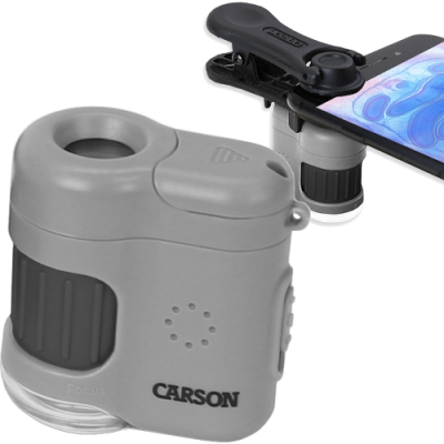 《CARSON》雙光源迷你顯微鏡(20x)+鏡頭夾