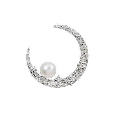 apm MONACO法國精品珠寶 閃耀銀色一千零一夜月亮珍珠星芒單邊耳針式耳環