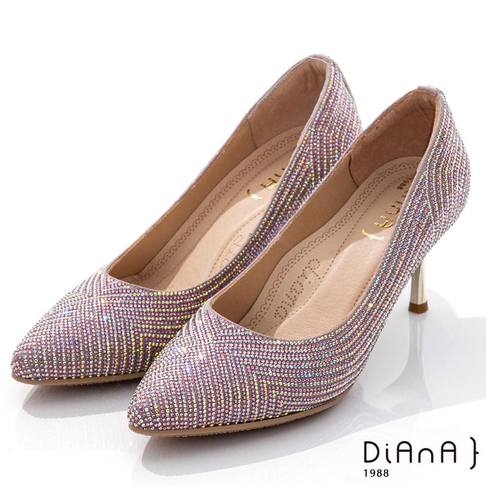 DIANA 7cm閃耀焦點水鑽幾何圖型尖頭跟鞋-漫步雲端焦糖美人-粉