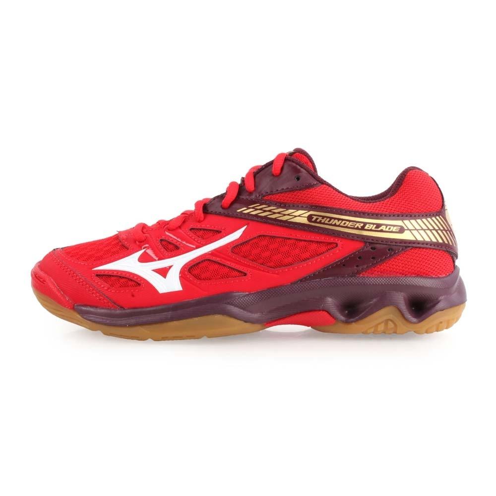 MIZUNO THUNDER BLADE 男女排球鞋-訓練 排球 紅咖啡金白