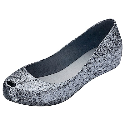 MELISSA 閃亮經典魚口鞋-銀