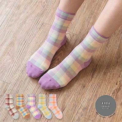 阿華有事嗎  韓國襪子 馬卡龍拼色格紋中筒襪  韓妞必備 正韓百搭純棉襪