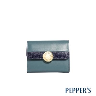PEPPER S Raven 牛皮撞色短夾 - 灰藍