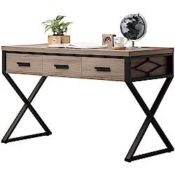 綠活居 芙蓉時尚4尺木紋三抽書桌/電腦桌-120x60x78cm免組