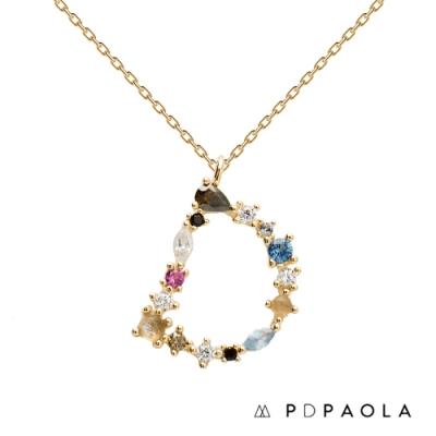 PD PAOLA 西班牙輕奢時尚品牌 字母D 彩鑽寶石項鍊