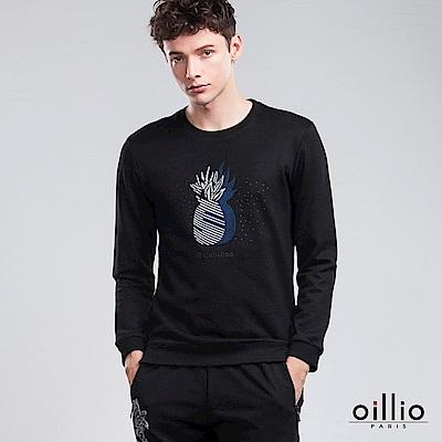 歐洲貴族 oillio 長袖T恤 高週波壓花 設計鳳梨 黑色