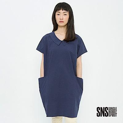 SNS 自然況味口袋設計長版純色上衣(2色)